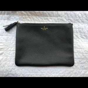 Kate Spade black large tassel pouch clutch